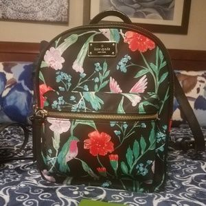 Kate Spade Black Hummingbird & floral Backpack